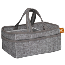 Customized grey felt diaper caddy with shoulder stripe