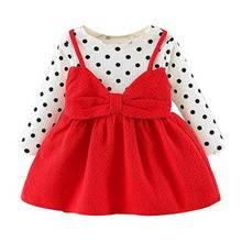 Fashionable baby girls dot bowknot dress