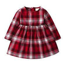 Baby Girls Long Sleeve Red Black Plaid dress