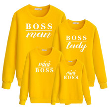 Family Matching Boss Print Long Sleeve Round Neck Sweatshirt