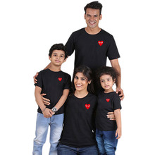 Family matching clothing custom Heart Shaped Printed father and son t shirts