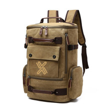 Wholesale custom fashion soft khaki canvas backpack
