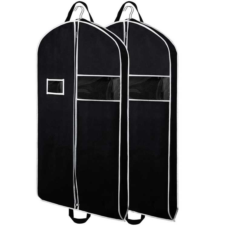 Wholesale Waterproof Zipper Travel Suit Cover Garment Bag With Business Card Area
