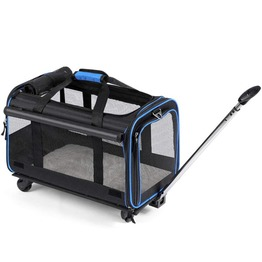 Pet Wheels Rolling Carrier with Extendable Handle & Detachable Fleece Bed 4 in 1 Removable Wheeled Travel Carrier