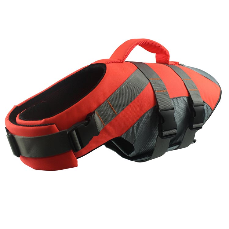 Sport Style Dog Life Jacket with Rescue Handle and Reflective Trim