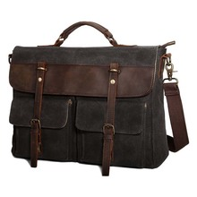 Water resistant travel school work bag large messenger bag waxed canvas briefcase