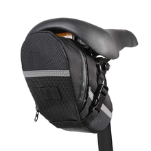 Bike saddle bag water resistant bicycle under seat pouch wedge packs with reflective stripes black