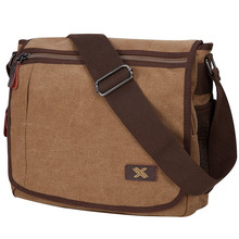 Mens canvas vintage shoulder satchel crossbody bags military laptop computer bag for students