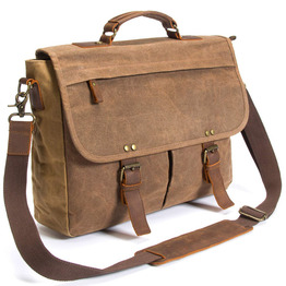 Laptop messenger bag canvas and leather shoulder briefcase