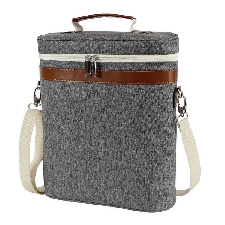Camping insulated wine tote personalized wine carrier bag travel padded wine cooler picnic wine bag