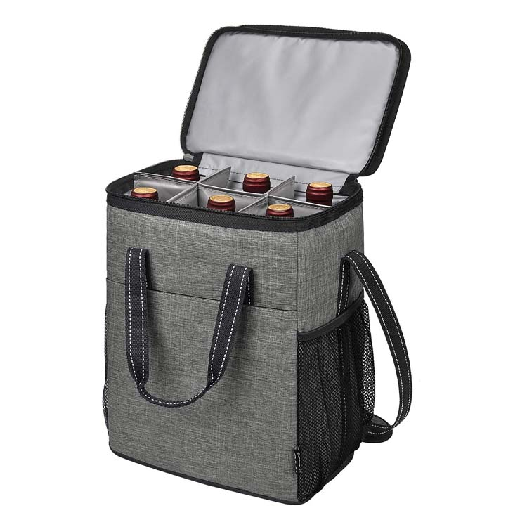 Travel wine carrier camping insulated leakproof padded wine cooler carrying tote bag for picnic wine bag
