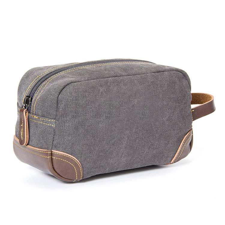 Leather and canvas travel toiletry bag