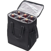 6 Bottle Wine Carrier Insulated And Padded Wine Carrying Cooler Tote Bag