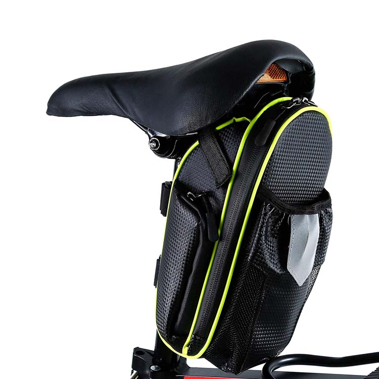 Large Bike Seat Pack with Water Bottle Pouch Water Resistant Bicycle Storage Gear Accessories Saddle Bag