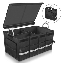Cargo Trunk Storage with Foldable Cover Reflective Stripe for Car Trunk Organizer