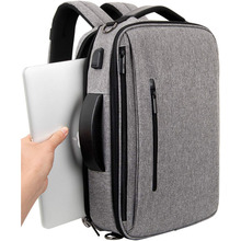 Convertible Backpack 15.6 Laptop Bag 3 in 1 Carry On Backpack Briefcase Messenger Shoulder Bag with Removable Strap Grey
