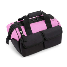 Multi Purpose Zip Top Pink Storage Wide Mouth Tool Bag Organizer Heavy Duty Storage Tool Tote Bag