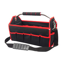 Wide Mouth Electrician Open Top Tool Tote Pack Heavy Duty Electrician Tool Carrier Storage Bag Tool Tote Bag