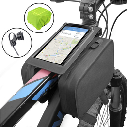 Bike Front Frame Bag Top Tube Storage Pack Handlebar Rack Bag with Phone Holder Water Resistant Phone Bag