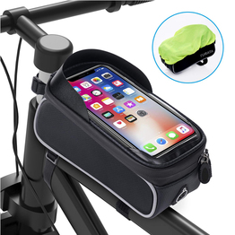 Bike Front Frame Bag Water Resistant Handlebar Pack Cycling Top Tube Pannier Large Capacity Mobile Phone Holder Bicycle Phone Bag