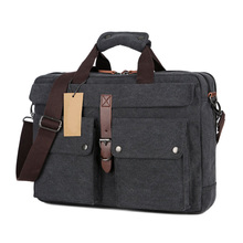 Canvas Laptop Computer Messenger Pack Portable Multicompartment Briefcase