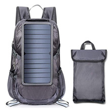 Solar Backpack Foldable Hiking Daypack With 5V Power Supply