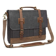 Water Repellent Waxed Canvas Genuine Leather Briefcase Computer Laptop Bag Large Satchel Shoulder Messenger Bag