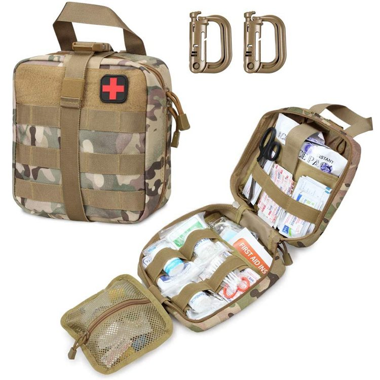 Military  Medical Bag Outdoor Emergency Survival Kit Quick Release Design Include Red Cross Patch
