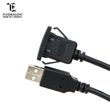 Square Single Port USB 2.0 Panel Flush Mount Extension Cable With Buckle for Car Truck Boat Motorcycle Dashboard 3ft
