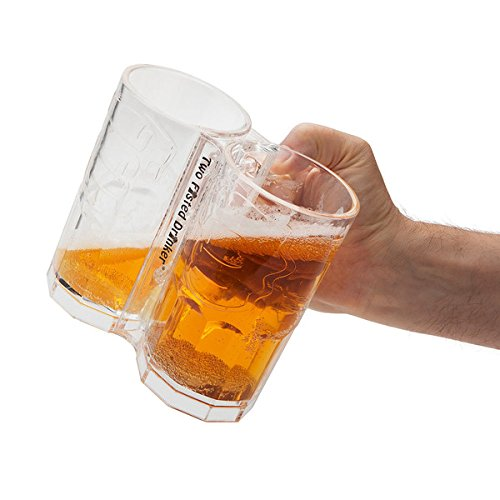 Plastic Commercial TWO FISTED BEERMUG Prevents Spilling and Lots of Fun