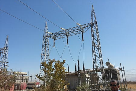 Electric power transmission line substation steel structure