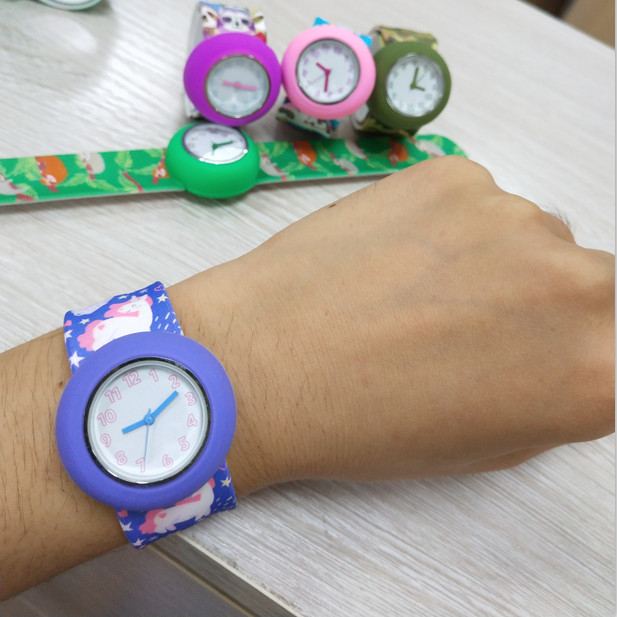 Cartoon Colorful Printing Silicone Kid Slap Watches