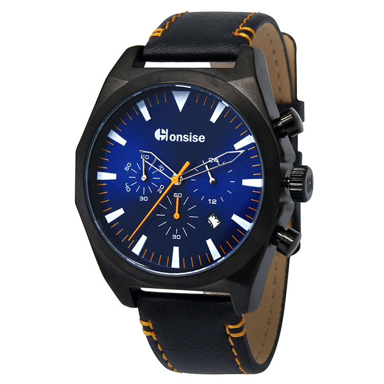 Factory Direct Alloy Case Leather Strap Sport Men Wrist Watch