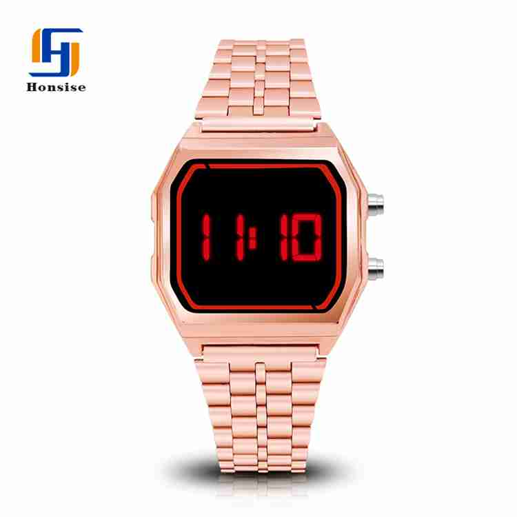 Japan Movt Alloy Stainless Steel Back Led Wrist Watch