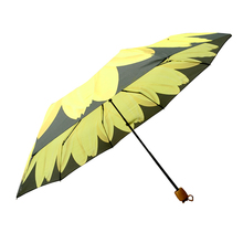 Wholesale Factory yellow flower three folding umbrella