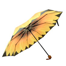 Cheap Rain Women Flower Print Automatic Open Three-folding Umbrella