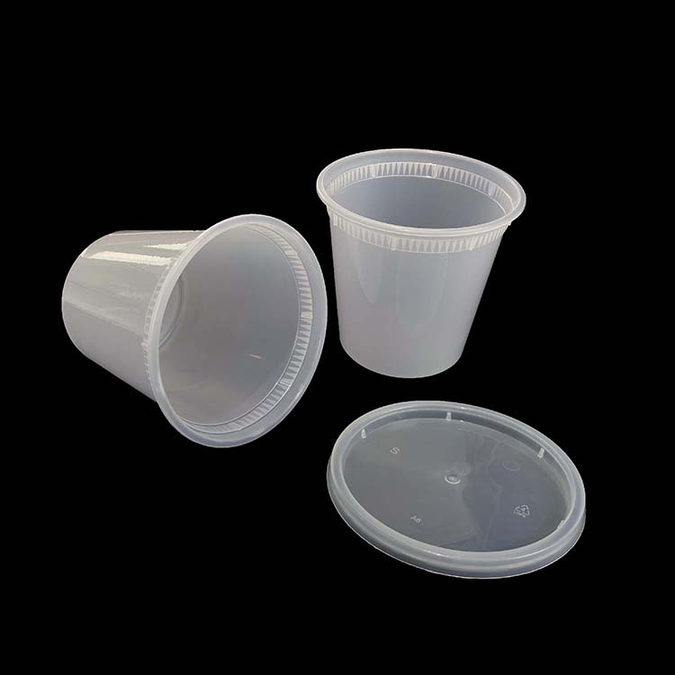 24Oz Round Leak Proof Take Away Disposable Plastic Soup Cup With Lid