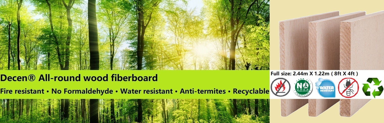 Decen® All-round wood fiberboard Fire resistant · No Formaldehyde · Water resistant · Anti-termites · Recyclable