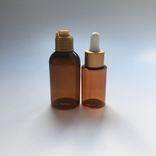 30ml 50ml amber cosmetic bottle with flip cap and dropper