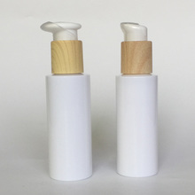 120ml PET milk white with wooden pump