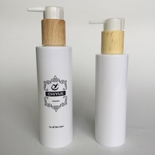 150ml cylinder cosmetic bottle with wooden pump