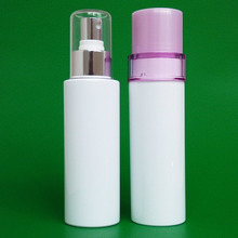 100ml cosmetic pump plastic bottle made of PET and with own print