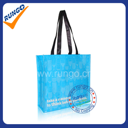 Blue PET shopping bag with lamination