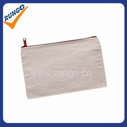 Promotional small cotton cosmetic bag with zipper closure