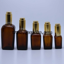 DB50 Square Shape Amber Bottle with dropper
