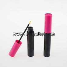 ET004-9ml Black Plastic Tube with Eyeliner Brush Pink Cap