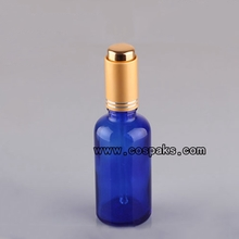 Blue Glass Bottle with gold dropper cap DBX20B-50ml