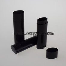 black oval shape lip balm tube  LB03-4.5g