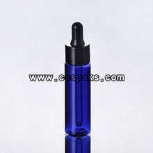 blue dropper bottle with black top  DB27-1oz