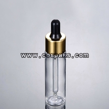 Black Rubber dropper bottle with gold shell DB27-30ml